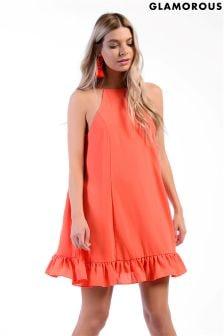 Glamorous Halter Neck Peplum Smock Dress