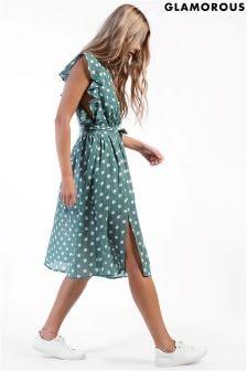فستان متوسط الطول منقط من Glamorous