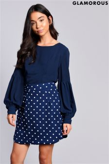 Glamorous Polka Dot High Waisted Skirt
