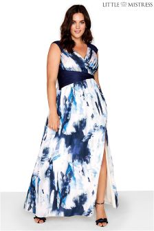 Little Mistress Curve Blur Print Maxi Dress
