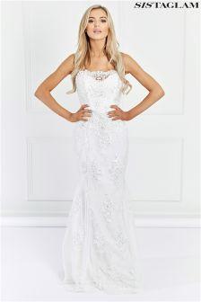 Sistaglam Lace Embellished Maxi Dress