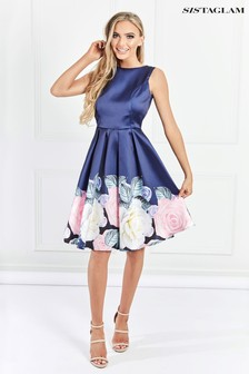 Sistaglam Floral Border Print Prom Dress