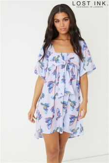 Lost Ink Bubble Sleeve Shift Dress in Bird Print