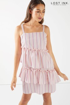 Lost Ink Tiered Stripe Cami Dress