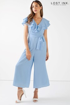 Lost Ink Frill Shoulder Wide Leg Jumpsuit