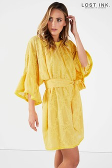 Lost Ink Ruffle Sleeve Embroidered Shift Dress