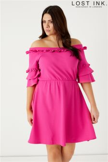 Lost Ink Curve Bardot Skater Dress