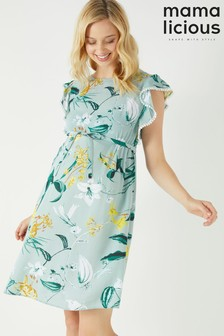 Mamalicious Maternity Floral Print Cap Sleeve Dress