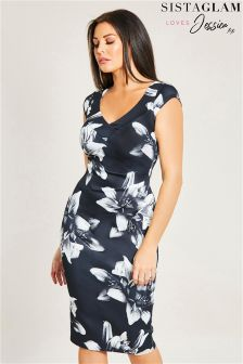 Sistaglam Loves Jessica Floral Print Bodycon Dress