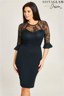 Sistaglam Loves Jessica Frill Sleeve Lace Bodycon Dress