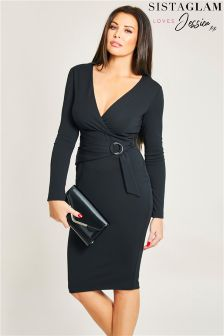 Sistaglam Loves Jessica Rouched Ring Detail Wrap Bodycon Dress
