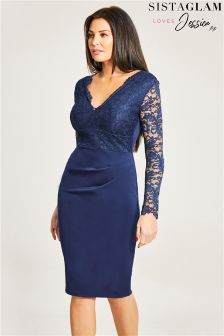 Sistaglam Loves Jessica Rouched Waist Lace Bodycon Dress