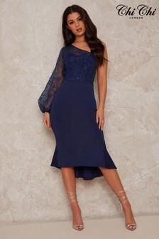 Chi Chi London Lace Overlay Bodycon Peplum Hem Midi Dress