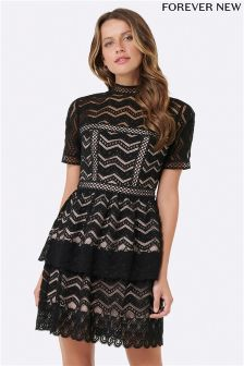 Forever New Zig-zag Lace Trim Dress