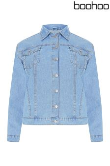 Boohoo Plus Oversized Denim Boyfriend Jacket
