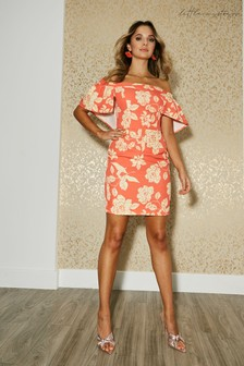 Little Mistress Lambeth Warm Orange Floral Print Belted Cape Bardot Dress