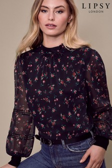 Lipsy Woven Front Floral Print Knitted Jumper
