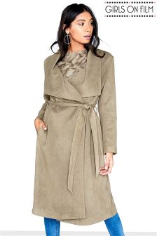 Girls On Film Textured Suedette Trench Coat