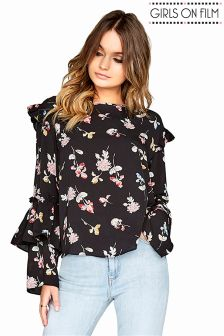 Girls On Film Floral Print Blouse Top