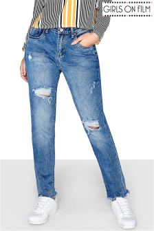Girls On Film Mid Denim Wash Relaxed Jean