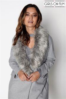 Girls On Film Faux Fur Collar Coat