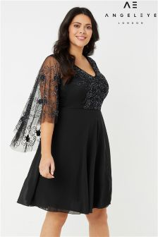 Angeleye Curve Drape Sleeve Embellished Dress