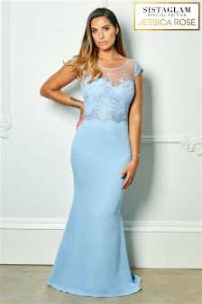 Sistaglam Loves Jessica Rose Lace Beaded Bridesmaid Dress