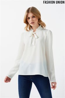 Fashion Union Long Sleeve Tie Neck Top