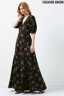 Fashion Union Floral Wrap Dress