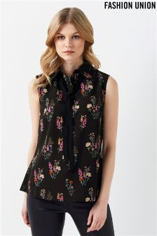 Fashion Union Floral Pussy Bow Blouse