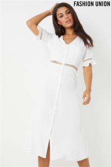 Fashion Union crochet insert midi Dress