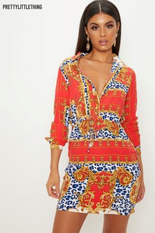 PrettyLittleThing Scarf Print Shift Dress