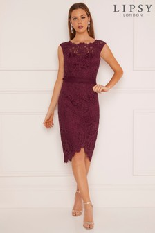 558984f341fd2e Lipsy VIP Lace Asymmetric Hem Midi Dress