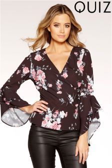 Quiz Floral Print Crossover Front Frill Sleeve Top