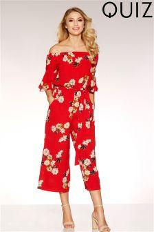 Quiz Floral Print Frill Sleeve Tie Belt Culotte Jumpsuit