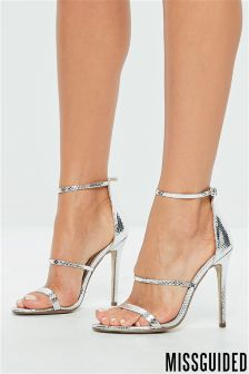 Missguided Three Strap Metallic Barely There Sandals