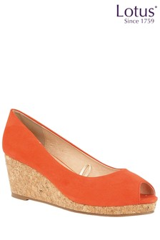 Lotus Cork Effect Open Toe Wedge Court