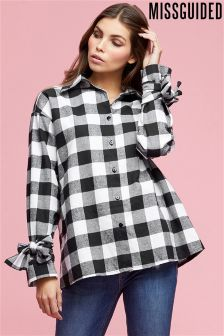 Missguided Square Check Tie Cuff Oversized Shirt