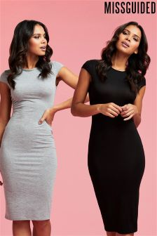 Missguided Cap Sleeve Jersey Midi Dress - 2 Pack