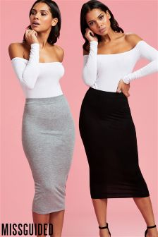 Missguided Jersey Midi Skirt - 2 Pack