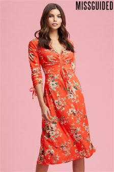 Missguided Jersey Gathered Front Midi Dress