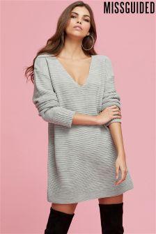 Missguided V Front Knitted Jumper Dress