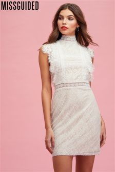 Missguided Lace High Neck Sleeveless Mini Dress