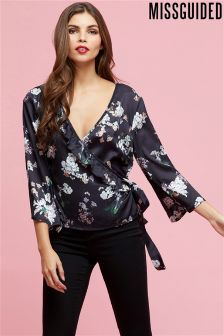 Missguided Plunge Neck Tie Front Floral Top