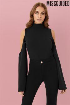 Missguided Cold Shoulder Split Sleeve Bodysuit