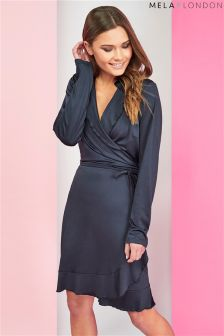 Mela London Long Sleeve Wrap Dress
