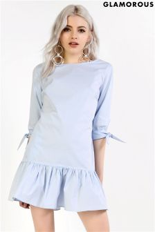 Glamorous Petite Peplum Dress With Bow Sleeves