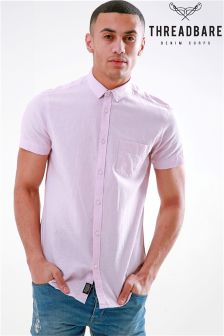 Threadbare Linen Blend Short Sleeve Shirt