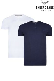 Threadbare 2 Pack 3 Button Grandad T-Shirt