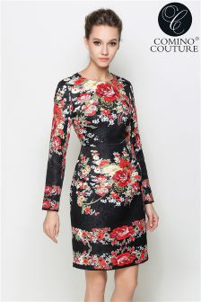 Comino Couture Floral Print Long Sleeve Dress